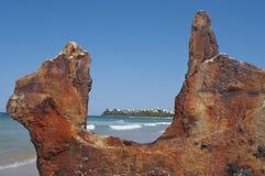 Moffat Beach, Australia. Moffat Beach View Framed by Shipwreck detail, Sunshine Coast, Queensland, Australia Royalty Free Stock Photos