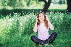 hełmofonów kobieta Zdjęcie Stock