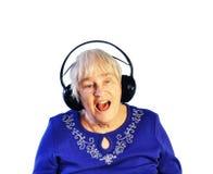 hełmofonów seniora kobieta Zdjęcia Stock