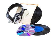 Hełmofony, winylowi rejestry, cd, Zdjęcia Royalty Free