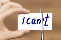 Mogę jaźni motywacja - ciąć list t pisać słowo Obraz Royalty Free