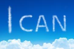 Mogę - inskrypcja od chmur w niebieskim niebie Obraz Royalty Free