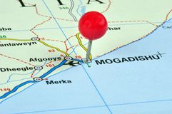 Mogadishu. Somalia pinned on a map and photographed in a studio royalty free stock image