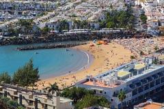 Mogan Beach, Gran Canaria. Mogan Beach in Puerto Mogan, Gran Canaria - aerial view of beach and Atlantic Ocean stock photo