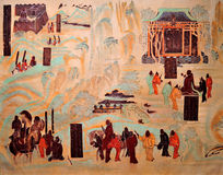 Mogao Cave 323 during the early Tang Han Dynasty map mural Stock Images