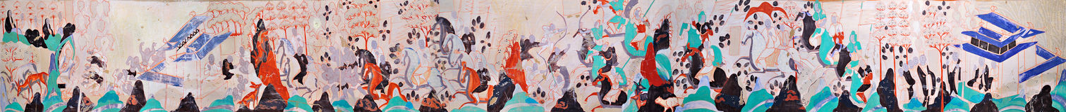 Mogao Cave 296 Northern Zhou period five hundred robbers story mural into the Road Stock Photo
