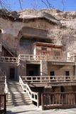 Mogao caves. Mount and Mogao caves, China Royalty Free Stock Photo
