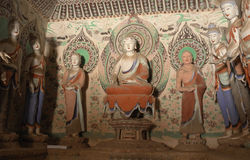 Mogao Caves in Dunhuang, China. This photo is taken in Dunhuang, China, The Mogao Caves also known as the Thousand Buddha Grottoes form a system of 492 temples Royalty Free Stock Image