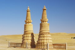 The Mogao Grottoes mud tower. In the Gobi Desert Royalty Free Stock Photography