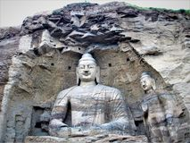 Mogaoholen in Dunhuang, China en Grote Boedha royalty-vrije stock foto