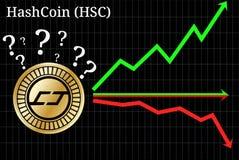 Mogelijke grafieken van cryptocurrency van voorspellingshashcoin HSC - omhoog, onderaan of horizontaal grafiek vector illustratie