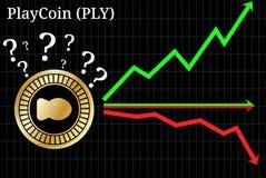 Mogelijke grafieken van de VOUWcryptocurrency van voorspellingsplaycoin - omhoog, onderaan of horizontaal grafiek royalty-vrije illustratie