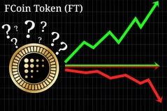 Mogelijke grafieken van Symbolische voet cryptocurrency van voorspellingsfcoin - omhoog, onderaan of horizontaal grafiek stock illustratie