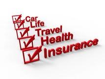 Mogelijke verzekeringsonderwerpen Stock Foto's
