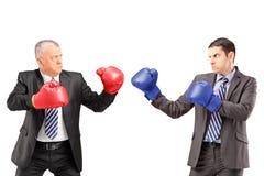 Mogen affärsman med boxninghandskar som är klara att slåss hans coworke