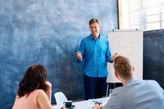 Mogen affärsman som ger en presentation till coworkers i ett kontor royaltyfri fotografi