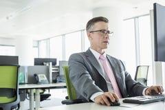 Mogen affärsman Working On Computer i regeringsställning Royaltyfri Foto