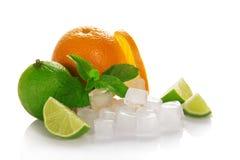 Mogen apelsin, gräsplanlimefrukt och mintkaramell royaltyfria bilder