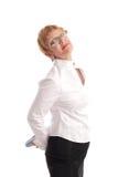 mogen attraktiv affärskvinna Royaltyfri Foto