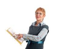 mogen attraktiv affärskvinna arkivbild