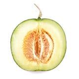 Mogen cantaloupmelonmelonisolat på en vitbakgrund (som fäster ihop PA Royaltyfria Bilder