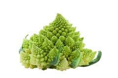 Mogen grönsakromanescobroccoli eller blomkålkålisolat arkivbild