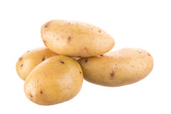 Mogen guld- potatis på vit bakgrund Vegetarisk mat fransman arkivbild