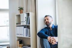 Mogen hipsteraffärsman som sitter på en fönsterfönsterbräda i ett modernt kontor royaltyfri foto