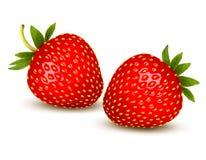 Mogen jordgubbe med sidor. Arkivbilder