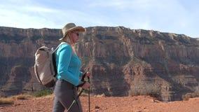 Mogen kvinna för fett med trekking poler och en ryggsäck som fotvandrar i Grandet Canyon stock video