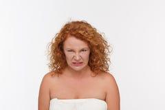 Mogen kvinna för hat arkivfoto