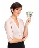 Mogen kvinna med amerikanska dollarpengar Arkivfoto