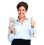 Mogen kvinna med amerikanska dollarpengar Arkivfoton