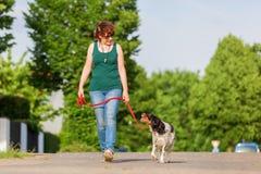 Mogen kvinna med den Brittany hunden på koppeln Arkivfoto