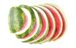 Mogen ljus skiva av vattenmelon på en vit bakgrund isolerat Top beskådar Arkivfoton