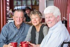 Mogen man med vänner i kaffehus Royaltyfria Bilder