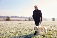 Mogen man som går hunden i Frosty Landscape Royaltyfri Foto