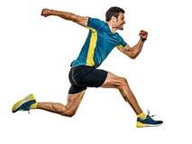 Mogen manspringl?pare som joggar jogger isolerad vit bakgrund arkivbild