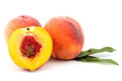 Mogen persikafrukt som isoleras på vitt bakgrundsutklipp fotografering för bildbyråer