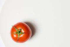 Mogen tomatgrupp på plattabunken på vit bakgrund, lodlinje arkivfoton