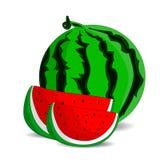 Mogen vattenmelon och två saftiga röda skivor, tecknad film på en vit bakgrund Royaltyfria Bilder