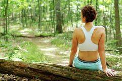 mogen vilande löparekvinna Arkivfoto