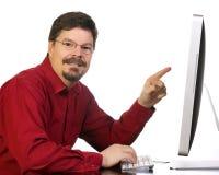 mogen working för affärsdatorman Arkivbild