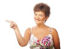 Moget peka för kvinna Fotografering för Bildbyråer
