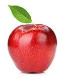 Moget rött äpple med det gröna bladet Royaltyfria Bilder