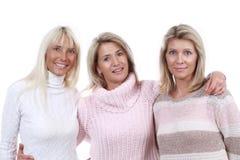 Moget slut för kvinna tre tillsammans Royaltyfri Foto