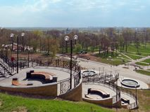 MOGILEV, BELARUS - APRIL 27, 2019: park area with a staircase and a fountain. 5 royalty free stock images