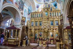 The iconostasis and interior of the St. Nicholas Church in Mogilev. Belarus. Mogilev. Belarus. August 26. 2017. The iconostasis and interior of the St. Nicholas royalty free stock photos
