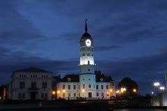 Mogilev-Stadt-Hall Evening-Ansicht lizenzfreies stockbild