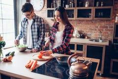Moglie e marito che cucinano insalata di verdure in ciotola fotografia stock libera da diritti